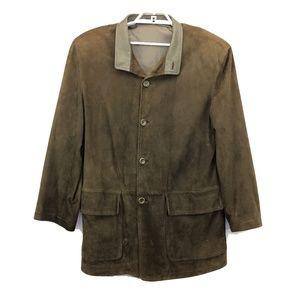 Ermenegildo Zegna Mens Size 56 Leather Jacket